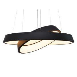 Designerska lampa wisząca LED Orbit z podwójnym ringiem czarna z ciepłą barwą 2700K