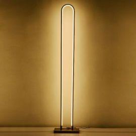 Minimalistyczna lampa podłogowa LED Luce di Vicolo w kolorze miedzianym o mocy 60W 4000K
