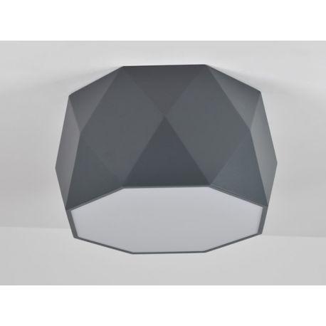 Nowoczesny szary plafon LED MINIMALISMO w wersji XLH o oryginalnym geometrycznym kształcie