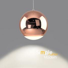 Minimalistyczna metalowa lampa led Globo w kolorze miedzianym chromowanym 12W