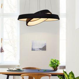 Designerska lampa wisząca LED Orbit RP2 z podwójnym ringiem czarna z ciepłą barwą 3000K