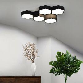 Nowoczesny plafon FAVO 5 o układzie heksagonalnym z funkcją ściemniacza i zmiany barwy światła led 60W