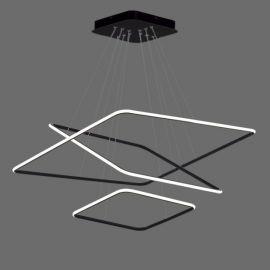 Nowoczesna lampa led QUADRATA 3 czarna 116W z ciepłą barwą 3000K
