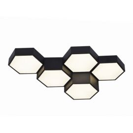 Nowoczesny plafon FAVO 5 czarny z jedną barwą światła led 4000K 60W diody Osram