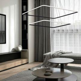 Designerska lampa led QUADRATA 2 czarna 90W z barwą ciepłą 3000K