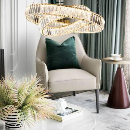 Kryształowy złoty żyrandol led Prisma 60W z barwą ciepłą 3000K z podwójnymi ringami 60 i 40cm
