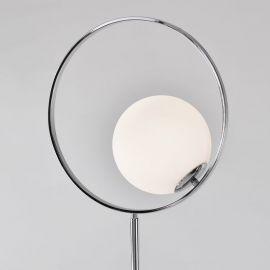 Lampa podłogowa Bella z marmurową podstawą srebrna chromowana w stylu glamour
