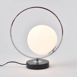 Stylowa lampa stołowa Bella srebrna chromowana z marmurową podstawą w stylu glamour