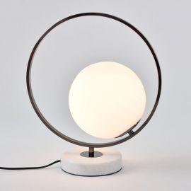 Minimalistyczna lampa stołowa Bella czarny chrom z marmurową podstawą w stylu glamour
