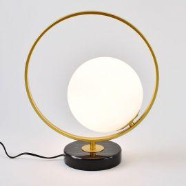 Złota lampa stołowa Bella z marmurową podstawą w stylu glamour