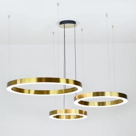 Designerska lampa led Modena z trzema złotymi ringami o mocy 90W z ciepłą barwą 3500K